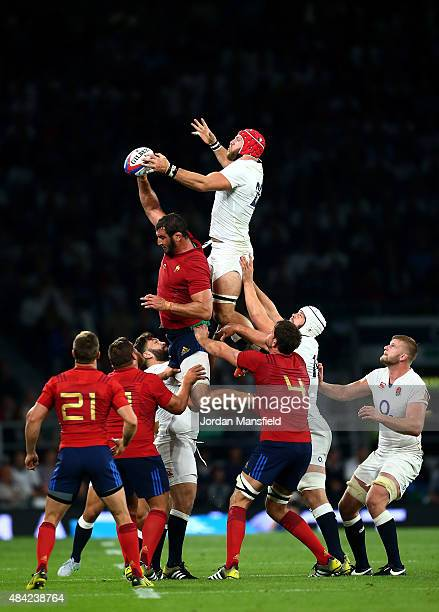 James Haskell of England and Yoann Maestri of France compete for lineout ball during the QBE International match between England and France at...