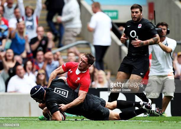 James Haskell of England goes over to score a try during the Investec international friendly match between England and Wales on August 6 2011 in...
