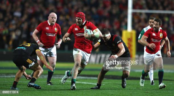 James Haskell of the Lions breaks with the ball during the match between the Chiefs and the British Irish Lions at Waikato Stadium on June 20 2017 in...