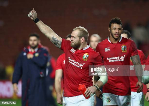 James Haskell of the Lions celebrates victory during the match between the Chiefs and the British Irish Lions at Waikato Stadium on June 20 2017 in...