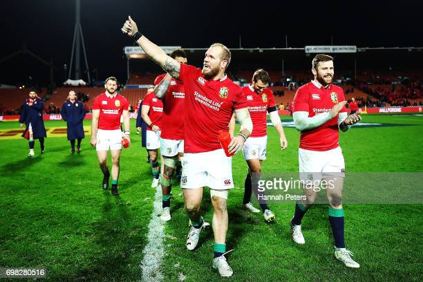James Haskell of the Lions thanks the crowd after winning the match between the Chiefs and the British Irish Lions at Waikato Stadium on June 20 2017...