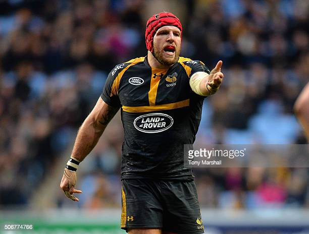 James Haskell of Wasps during the European Rugby Champions Cup match between Wasps and Leinster Rugby at Ricoh Arena on January 23 2016 in Coventry...