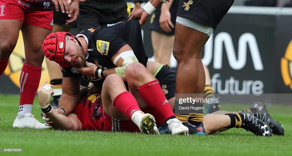 James Haskell of Wasps fights with Joe Marler, which led to Haskell being shown the yellow card during the Aviva Premiership match between Wasps and Harlequins at The Ricoh Arena on September 17, 2017 in Coventry, England.