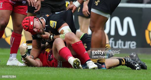 James Haskell of Wasps fights with Joe Marler which led to Haskell being shown the yellow card during the Aviva Premiership match between Wasps and...