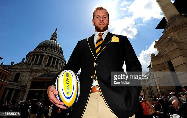 James Haskell of Wasps poses during the Wasps Media Session at Paternoster Square on April 30 2015 in London England