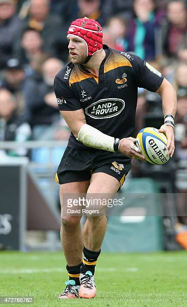 James Haskell of Wasps runs with the ball during the Aviva Premiership match between Wasps and Leicester Tigers at The Ricoh Arena on May 9 2015 in...