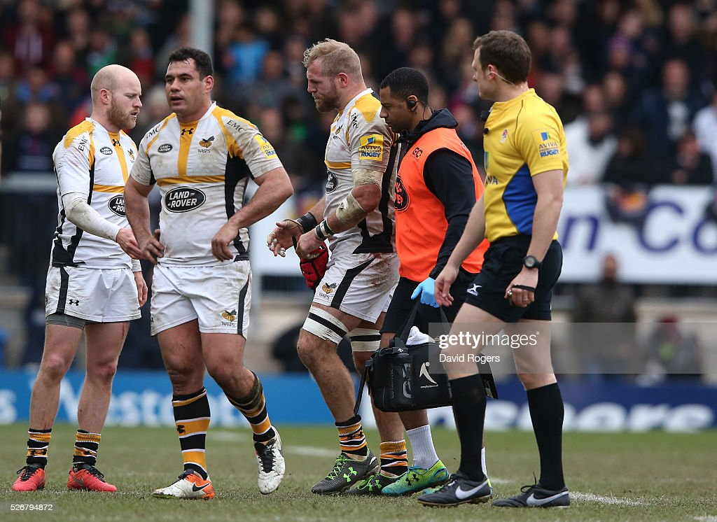 <a gi-track='captionPersonalityLinkClicked' href=/galleries/search?phrase=James+Haskell&family=editorial&specificpeople=539694 ng-click='$event.stopPropagation()'>James Haskell</a> of Wasps walks off the field after being replaced during the Aviva Premiership match between Exeter Chiefs and Wasps at Sandy Park on May 1, 2016 in Exeter, England.