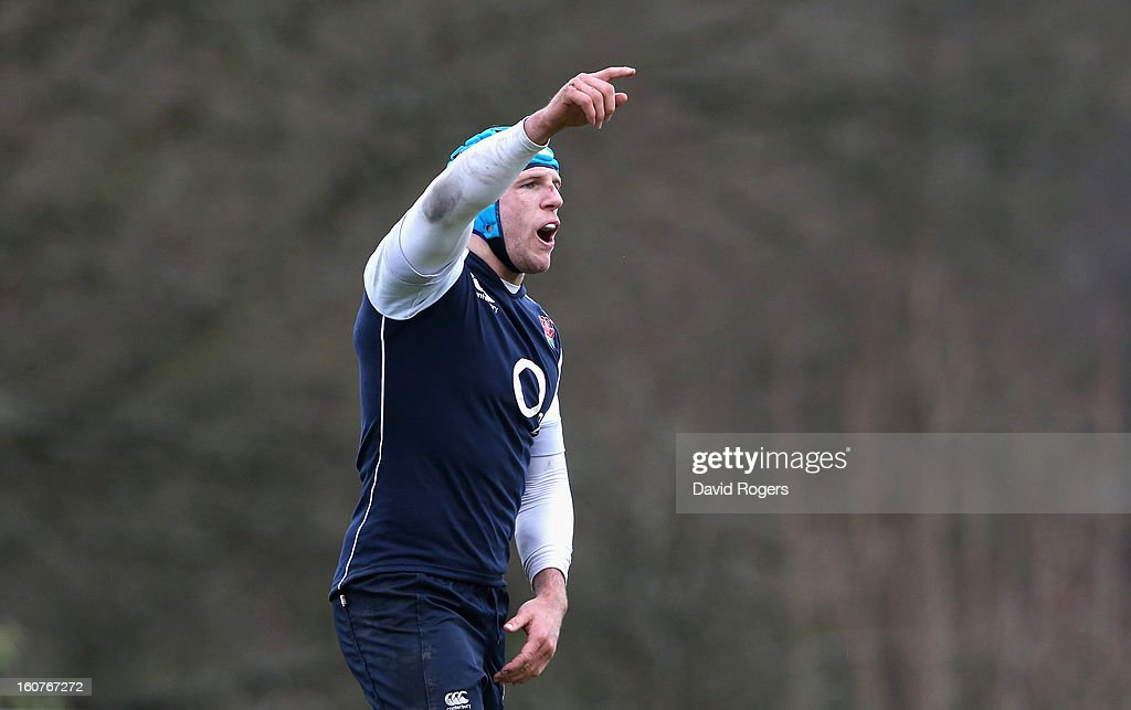 <a gi-track='captionPersonalityLinkClicked' href=/galleries/search?phrase=James+Haskell&family=editorial&specificpeople=539694 ng-click='$event.stopPropagation()'>James Haskell</a> shouts instructions during the England training session at Pennyhill Park on February 5, 2013 in Bagshot, England.