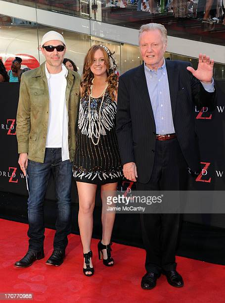 James Haven and Jon Voight attend the 'World War Z' New York Premiere at Duffy Square in Times Square on June 17 2013 in New York City