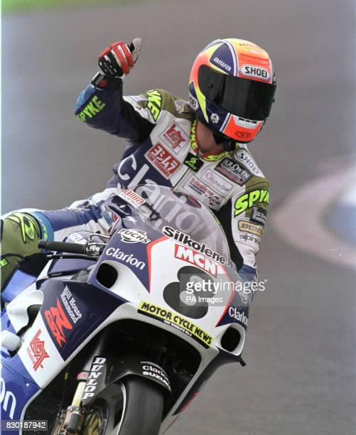 James Haydon celebrates his win in round nine of the British Superbike Championship at Donington Park today Monday 31st May 1999 He took the race win...