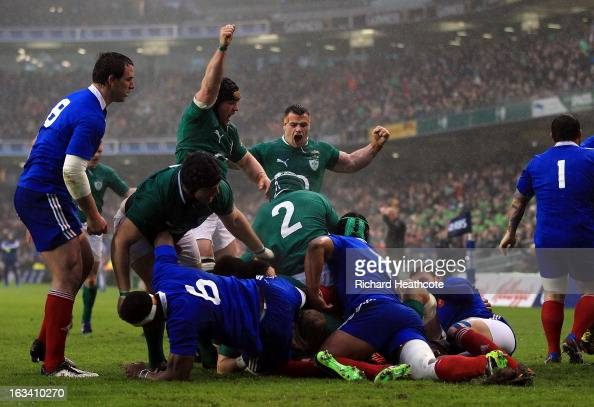 James Heaslip of Ireland scores the first try during the RBS Six Nations match between Ireland and France at Aviva Stadium on March 9 2013 in Dublin...