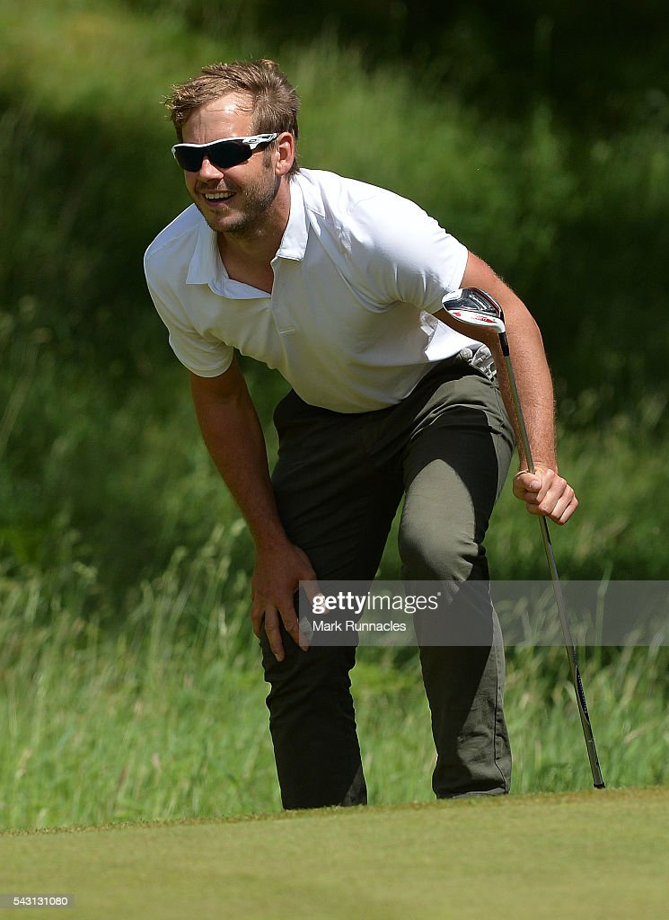 <a gi-track='captionPersonalityLinkClicked' href=/galleries/search?phrase=James+Heath&family=editorial&specificpeople=208172 ng-click='$event.stopPropagation()'>James Heath</a> of England lines up a putt at the 3rd during the final day of the 2016 SSE Scottish Hydro Challenge at the MacDonald Spey Valley Golf Course on June 26, 2016 in Aviemore, Scotland.
