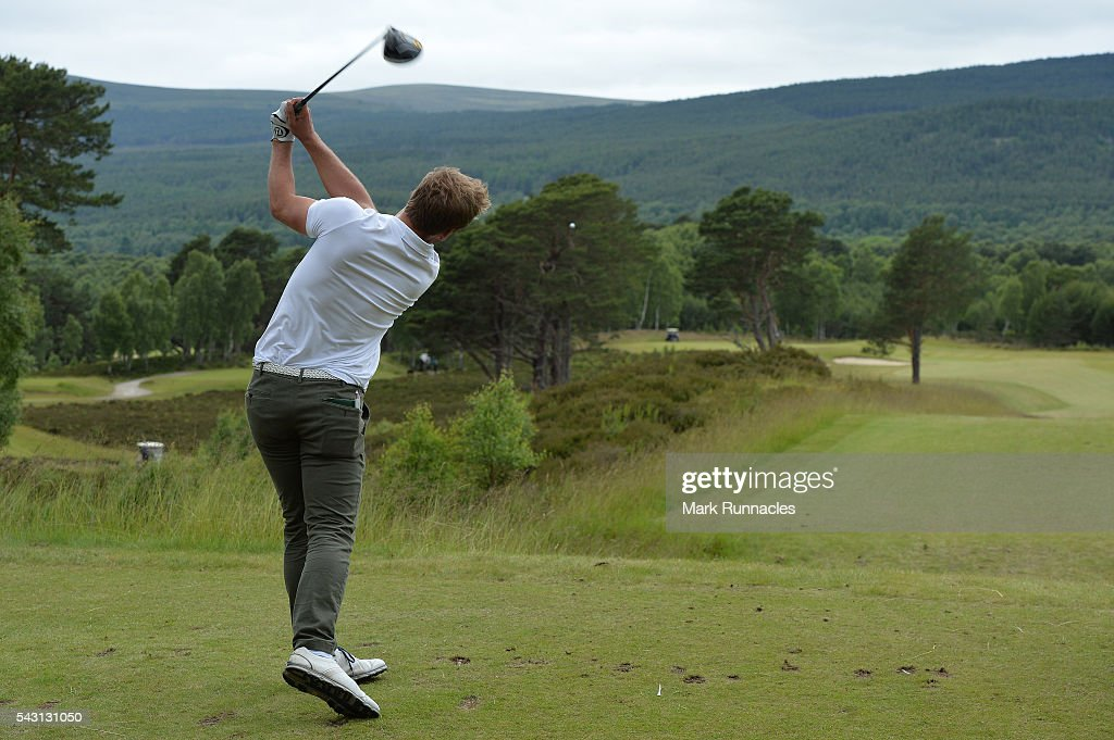 <a gi-track='captionPersonalityLinkClicked' href=/galleries/search?phrase=James+Heath&family=editorial&specificpeople=208172 ng-click='$event.stopPropagation()'>James Heath</a> of England Tee shot to the 9th during the final day of the 2016 SSE Scottish Hydro Challenge at the MacDonald Spey Valley Golf Course on June 26, 2016 in Aviemore, Scotland.
