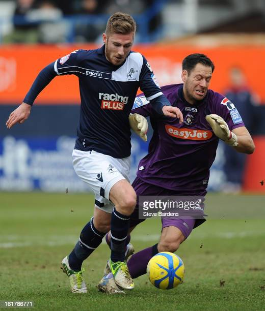 James Henry of Millwall FC rounds the Luton Town goalkeeper Mark Tyler to score the opening goal during the FA Cup with Budweiser Fifth Round Match...
