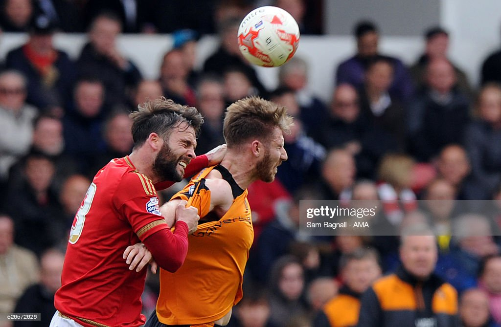 James Henry of Wolverhampton Wanderers and Danny Fox of Nottingham Forest during the Sky Bet Championship match between Nottingham Forest and Wolverhampton Wanderers on April 30, 2016 in Nottingham, United Kingdom.