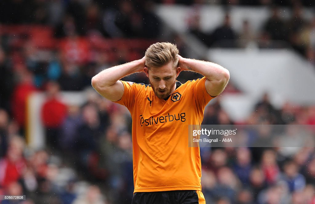 James Henry of Wolverhampton Wanderers reacts after a missed chance during the Sky Bet Championship match between Nottingham Forest and Wolverhampton Wanderers on April 30, 2016 in Nottingham, United Kingdom.