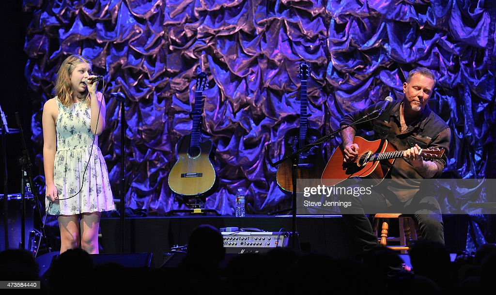 <a gi-track='captionPersonalityLinkClicked' href=/galleries/search?phrase=James+Hetfield&family=editorial&specificpeople=178297 ng-click='$event.stopPropagation()'>James Hetfield</a> and daughter perform at the 2nd Annual 'Acoustic-4-A-Cure' Benefit Concert at The Masonic Auditorium on May 15, 2015 in San Francisco, California.