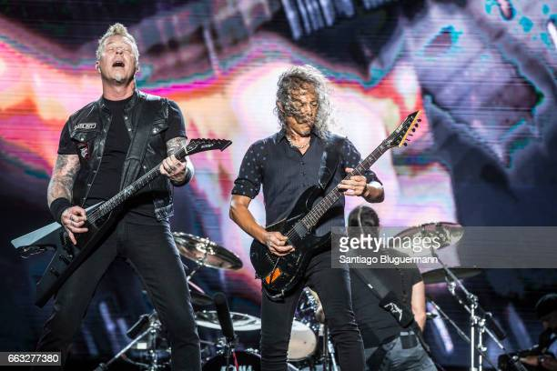 James Hetfield and Kirk Hammet of Metallica perform on stage during day 1 of Lollapalooza Argentina at Hipodromo de San Isidro on March 31 2017 in...