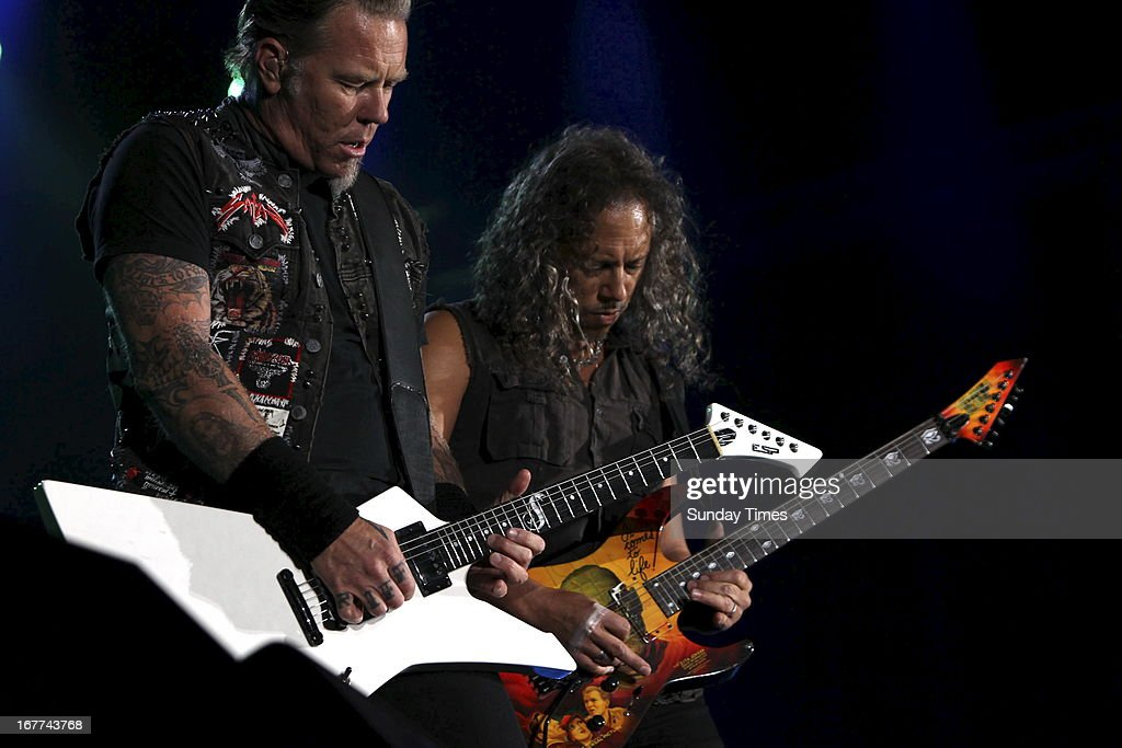James Hetfield and Kirk Hammett at Soccer City on April 27, 2013, in Johannesburg, South Africa. Metallica performed in South Africa on Freedom Day.