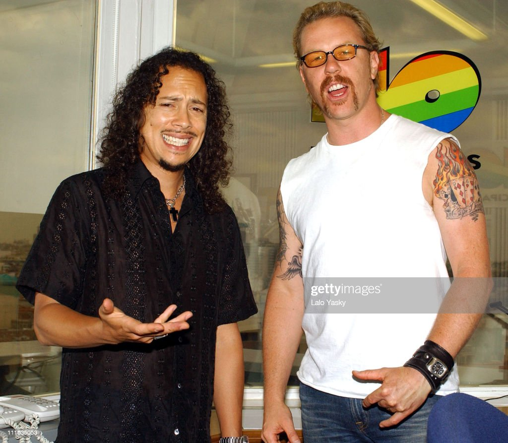 <a gi-track='captionPersonalityLinkClicked' href=/galleries/search?phrase=James+Hetfield&family=editorial&specificpeople=178297 ng-click='$event.stopPropagation()'>James Hetfield</a> (R) and <a gi-track='captionPersonalityLinkClicked' href=/galleries/search?phrase=Kirk+Hammett&family=editorial&specificpeople=204665 ng-click='$event.stopPropagation()'>Kirk Hammett</a> during Metallica Promotes New Album 'St. Anger' in Madrid at Los 40 Principales Radio Studios in Madrid, Spain.