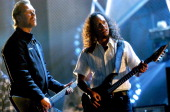 James Hetfield and Kirk Hammett during MTV Icon Metallica Rehearsal Day2 at Universal Studios Stage 12 in Universal City CA United States
