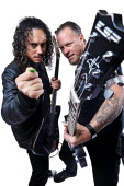 This image has been digitally manipulated James Hetfield and Kirk Hammett of American heavy metal group Metallica taken on August 24 2008