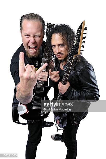 This image has been digitally manipulated James Hetfield and Kirk Hammett of American heavy metal group Metallica taken on August 24 2008