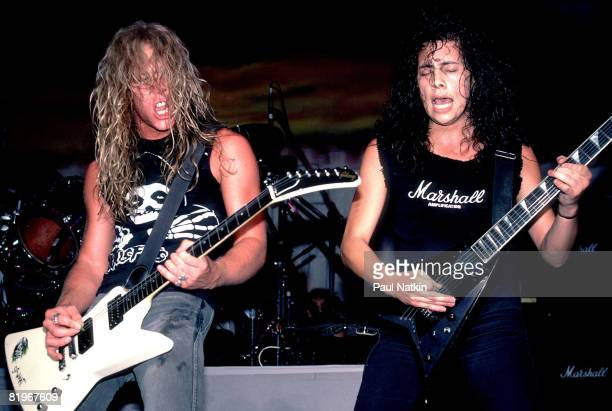 James Hetfield and Kirk Hammett of Metallica on 4/5/86 in Chicago Il
