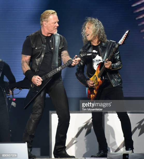 James Hetfield and Kirk Hammett of Metallica perform during the 2017 Outside Lands Music and Arts Festival at Golden Gate Park on August 12 2017 in...