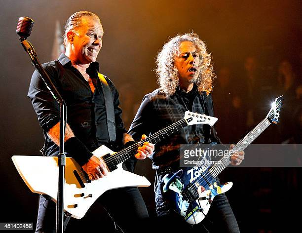 James Hetfield and Kirk Hammett of Metallica perform headling The Pyramid Stage on Day 2 of the Glastonbury Festival at Worthy Farm on June 28 2014...