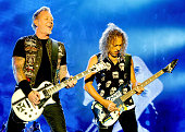 James Hetfield and Kirk Hammett of Metallica perform headlining the main stage on day 3 of The Leeds Festival at Bramham Park on August 30 2015 in...
