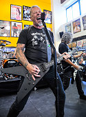 James Hetfield and Kirk Hammett of Metallica perform on Record Store Day at Rasputin Music on April 16 2016 in Berkeley California