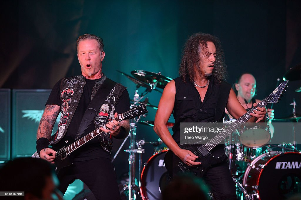 <a gi-track='captionPersonalityLinkClicked' href=/galleries/search?phrase=James+Hetfield&family=editorial&specificpeople=178297 ng-click='$event.stopPropagation()'>James Hetfield</a> (L) and <a gi-track='captionPersonalityLinkClicked' href=/galleries/search?phrase=Kirk+Hammett&family=editorial&specificpeople=204665 ng-click='$event.stopPropagation()'>Kirk Hammett</a> of Metallica perform private, exclusive concert for SiriusXM listeners at The Apollo Theater on September 21, 2013 in New York City.