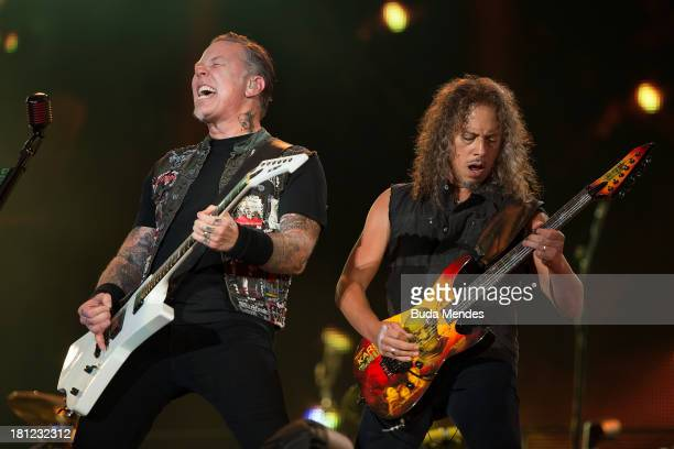 James Hetfield and Kirk Hammett of the band Metallica perform on stage during a concert in the Rock in Rio Festival on September 19 2013 in Rio de...