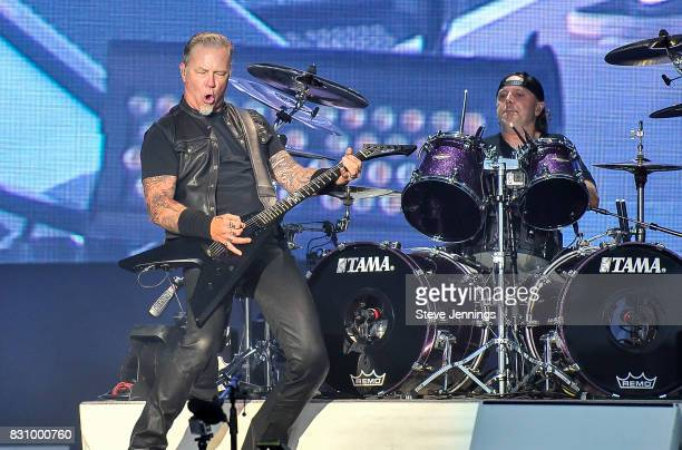James Hetfield and Lars Ulrich of Metallica perform on Day 2 of Outside Lands Music Arts Festival at Golden Gate Park on August 12 2017 in San...