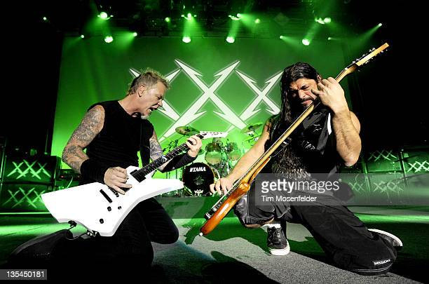 James Hetfield and Robert Trujillo of Metallica perform during day three of the band's 30th Anniversary shows at The Fillmore on December 9 2011 in...
