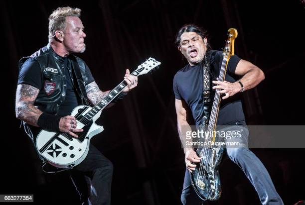 James Hetfield and Robert Trujillo of Metallica perform on stage during day 1 of Lollapalooza Argentina at Hipodromo de San Isidro on March 31 2017...