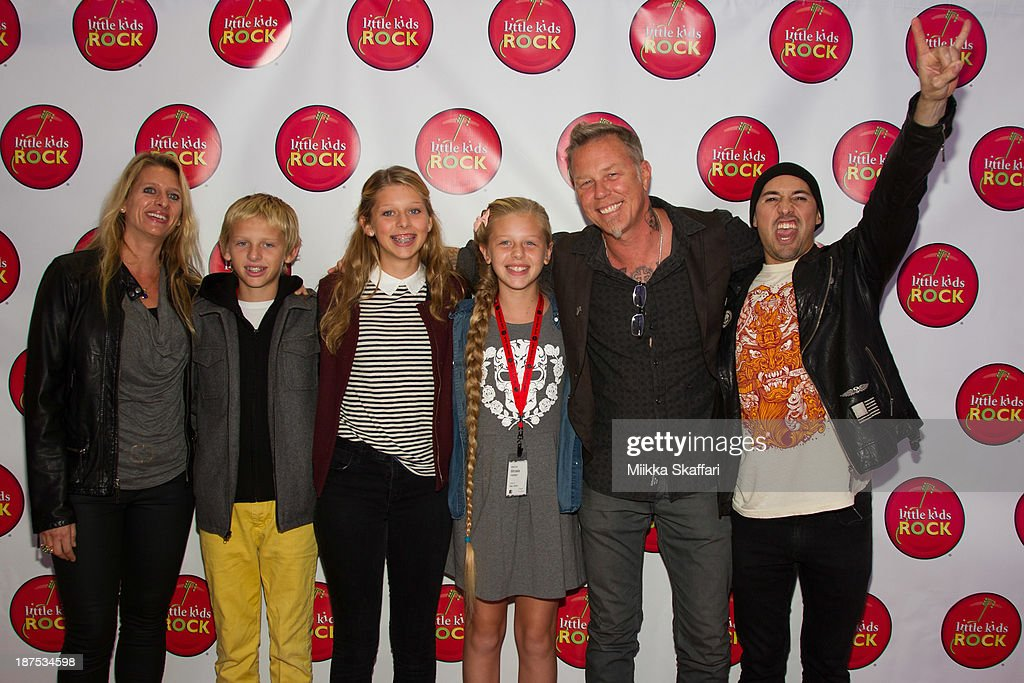 <a gi-track='captionPersonalityLinkClicked' href=/galleries/search?phrase=James+Hetfield&family=editorial&specificpeople=178297 ng-click='$event.stopPropagation()'>James Hetfield</a> arriving to Little Kids Rock fundraiser in Facebook HQ with his wife Francesca and children Cali, Castor and Marcella on November 9, 2013 in Menlo Park, California.