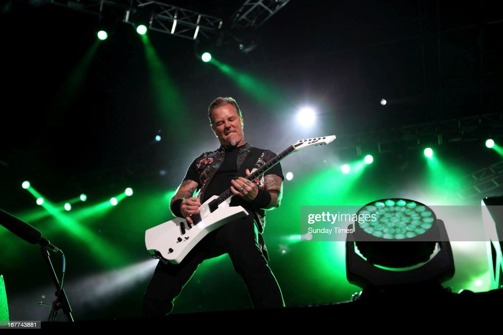James Hetfield at Soccer City on April 27, 2013, in Johannesburg, South Africa. Metallica performed in South Africa on Freedom Day.