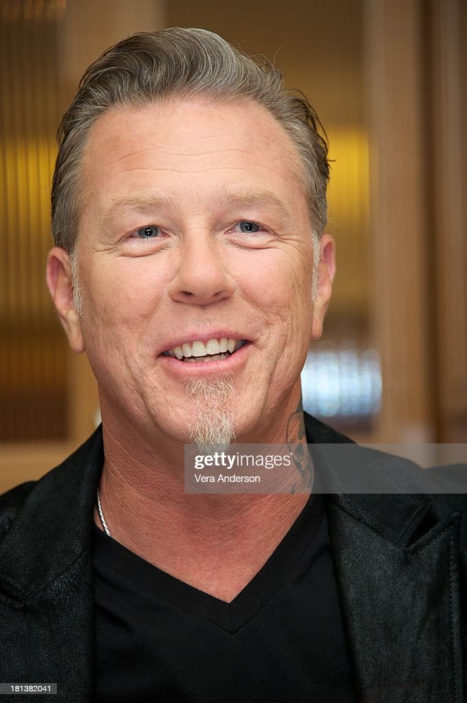 <a gi-track='captionPersonalityLinkClicked' href=/galleries/search?phrase=James+Hetfield&family=editorial&specificpeople=178297 ng-click='$event.stopPropagation()'>James Hetfield</a> at the 'Metallica: Through The Never' Press Conference at the Fairmont Hotel on September 17, 2013 in San Francisco, California.