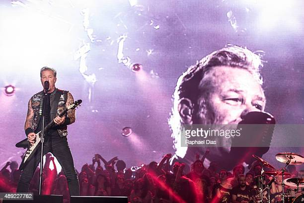 James Hetfield from Metallica performs at 2015 Rock in Rio on September 19 2015 in Rio de Janeiro Brazil