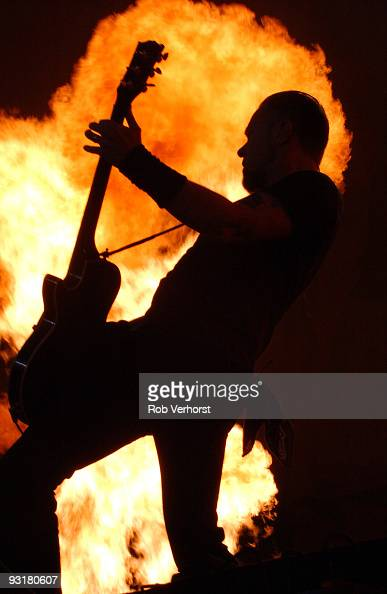 James Hetfield from Metallica performs live in front of flames at Amsterdam Arena Holland on June 21 2004