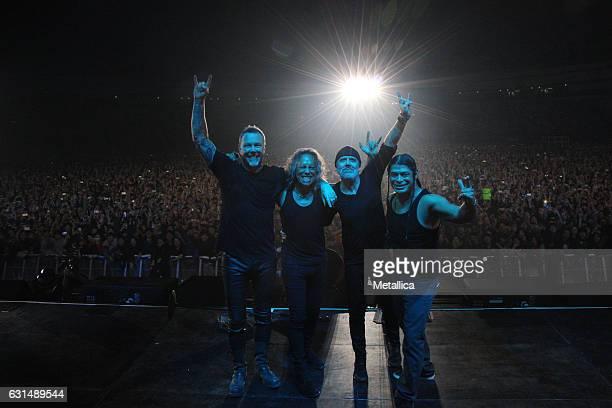 James Hetfield Kirk Hammett Lars Ulrich and Robert Trujillo of Metallica perform at Gocheok Sky Dome on January 11 2017 in Seoul South Korea