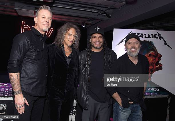 James Hetfield Kirk Hammett Lars Ulrich and Robert Trujillo of Metallica attend the signing of their new album 'Handwired to Self Distruct' at HMV...