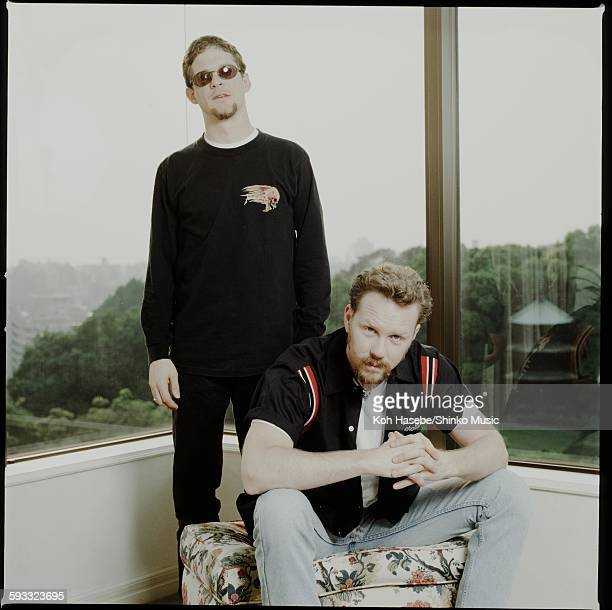 James Hetfield Kirk Hammett Metallica in photo session at a hotel unknown May 1996