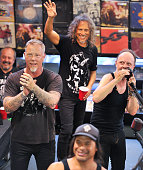 James Hetfield Kirk Hammett Robert Trujillo and Lars Ulrich of Metallica perform on Record Store Day at Rasputin Music on April 16 2016 in Berkeley...
