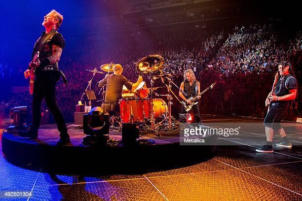 James Hetfield Lars Ulrich Kirk Hammett and Robert Trujillo of Metallica performing at Centre Videotron on September 16 2015 in Quebec City Canada