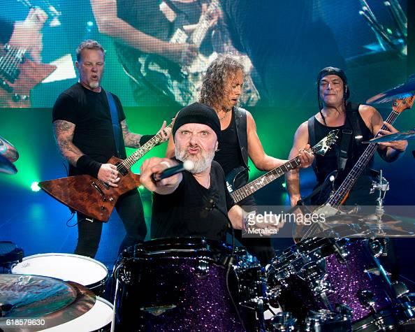 James Hetfield Lars Ulrich Kirk Hammett and Robert Trujillo of Metallica perform at Coliseo de Puerto Rico on October 26 2016 in Hato Rey Puerto Rico