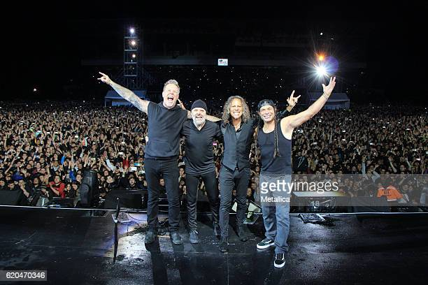 James Hetfield Lars Ulrich Kirk Hammett and Robert Trujillo of Metallica perform at Hipodromo de Los Andes on November 1 2016 in Bogota Colombia