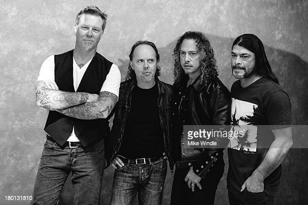 James Hetfield Lars Ulrich Kirk Hammett and Robert Trujillo of Metallica pose for a portrait during the 2013 Toronto International Film Festival on...